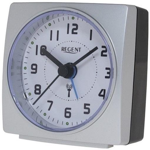 regent 42 700 19 wecker lautlos funkwecker analog licht alarm schwarz silber ebay. Black Bedroom Furniture Sets. Home Design Ideas