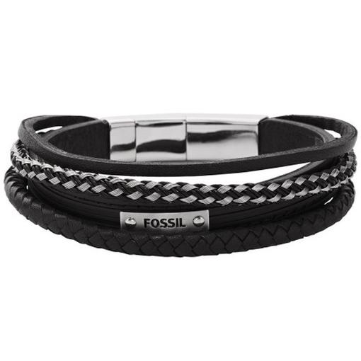fossil jf00071040 herren armband edelstahl leder schwarz 25 5 cm ebay. Black Bedroom Furniture Sets. Home Design Ideas