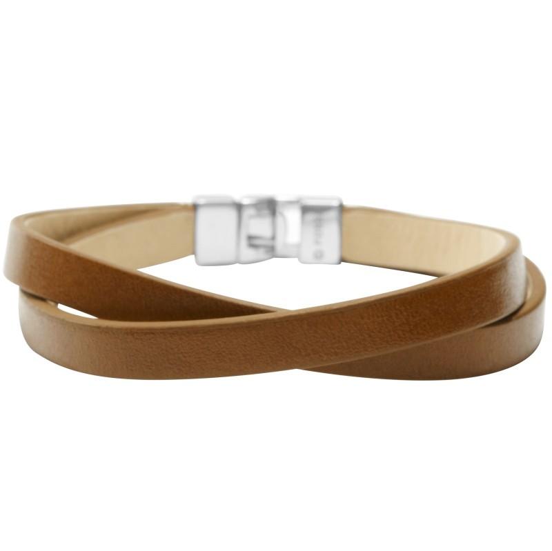 fossil jf00706 damen armband edelstahl leder braun 18 5 cm. Black Bedroom Furniture Sets. Home Design Ideas