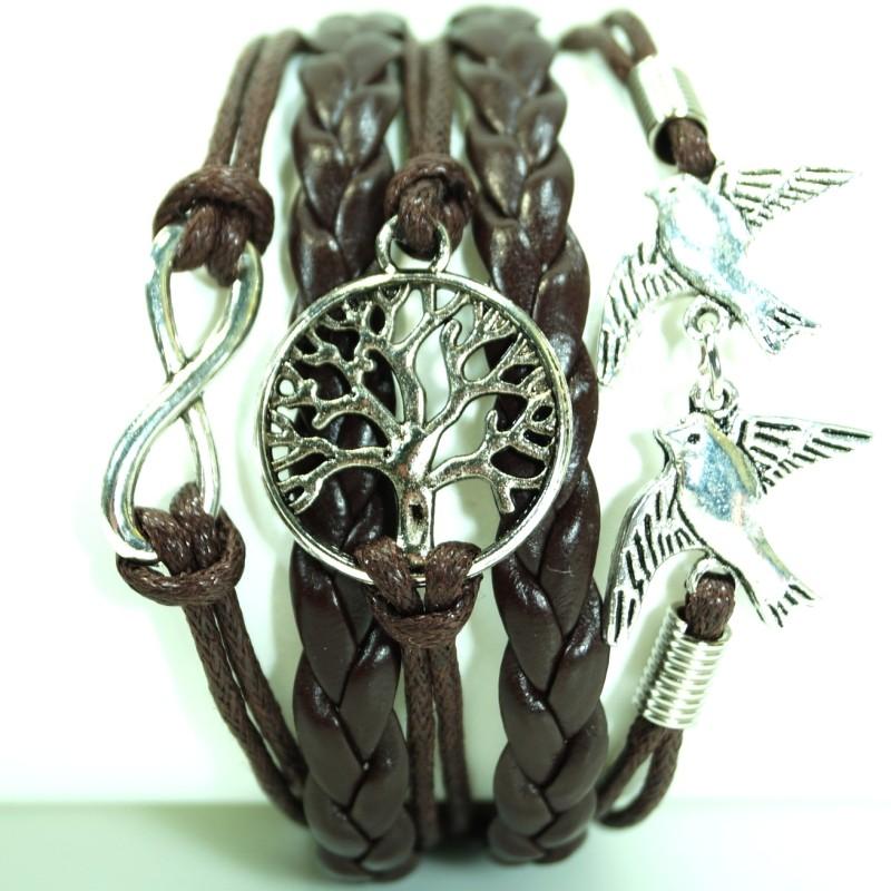 biker cjbb6412 damen armband lebensbaum taube leder. Black Bedroom Furniture Sets. Home Design Ideas