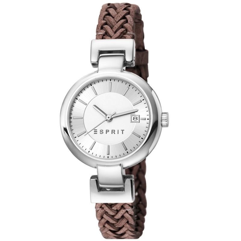 Esprit damenuhren lederarmband  Esprit ES107632008 zoe woven brown Uhr Damenuhr Lederarmband Datum ...
