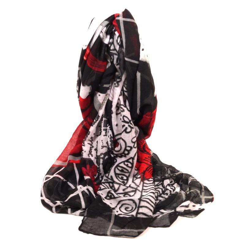 desigual schal black white schwarz wei rot 47w5813 2000 damen stola 190 cm ebay. Black Bedroom Furniture Sets. Home Design Ideas