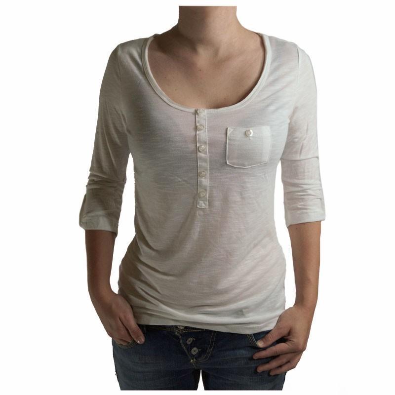 style damen t shirt 3 4 arm sublevel mit knopfleiste shirt wei gr l. Black Bedroom Furniture Sets. Home Design Ideas