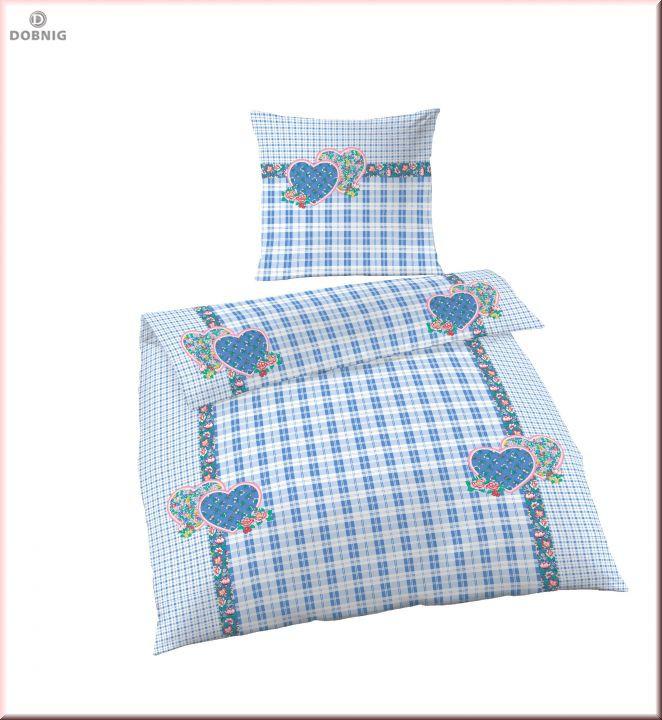 6294-24 Renforcé Bettwäsche 2tlg. Landliebe Blau 135x200 cm