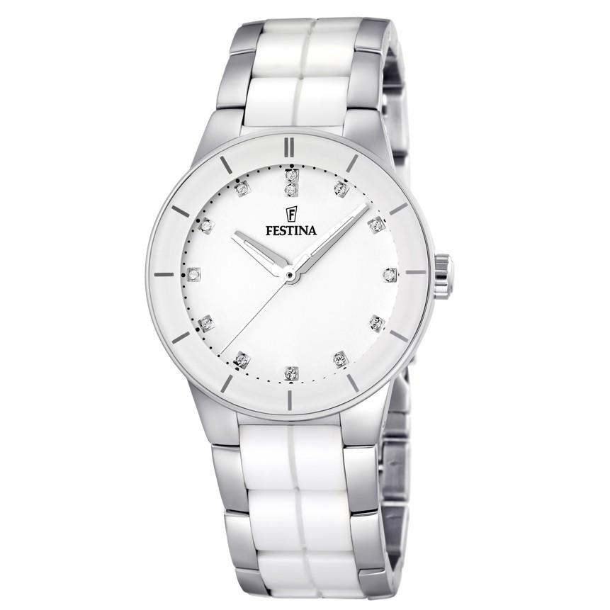 F16531/3 KERAMIK Uhr Damenuhr kratzfestes Keramik weiß