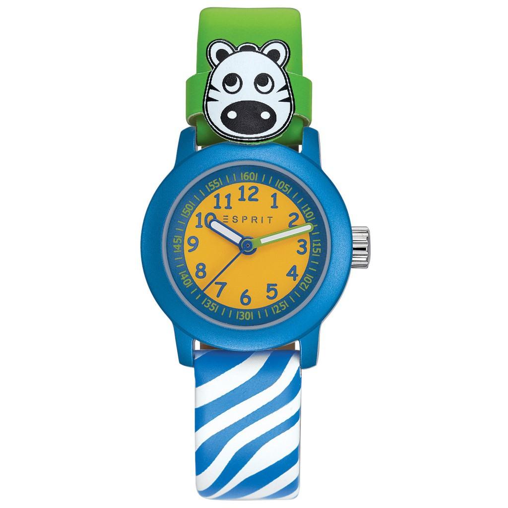 ESPRIT-TP10641 GREEN ZEBRA Uhr Junge Kinderuhr Leder grün blau