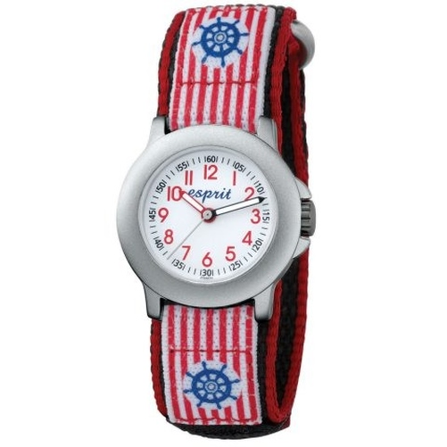 ES103454001 Kinderuhr brave sailor red rot schwarz Stoffband