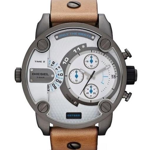 DZ7269 LITTLE DADDY Chronograph Uhr Herrenuhr Leder Datum braun