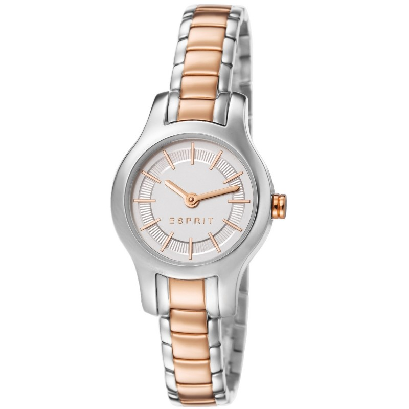 ES107082003 tia two tone rosegold Uhr Damenuhr Edelstahl silber